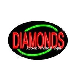 22x14 Diamonds Flashing Handcrafted Decorate Neon Light Sign Store Display Beer Bar Sign Led Lamp
