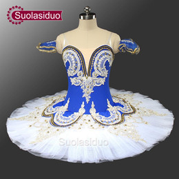 Wholesale Bird Costume Adults - Adult Blue Bird Ballet Professional Stage Tutu Blue And White Classical Ballet Performance Costume Customized SD0028