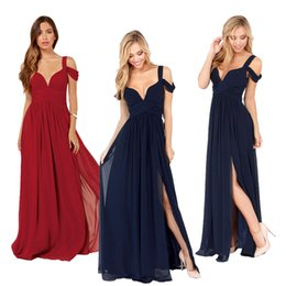 Wholesale Cheap Dresses For Pageants - Cheap In Stock 2015 New Off Shoulder A Line Split Side Long Chiffon Fashion Sexy Dark Navy Wine Red Dresses For Prom Pageant Party Gowns