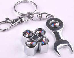 Wholesale Tire Chain Wrench - Free shipping good quality car tire valve cap 4 + wrench key chain for BMW for #117 M2904