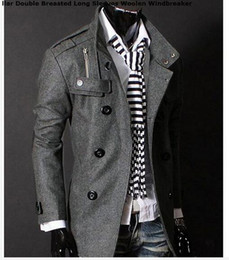 Wholesale Mens Jacket Stylish Double Collar - Fashion Stylish Men's Trench Coat, Winter Jacket ,mens mid-long slim Double Breasted Coat ,Overcoat woolen Outerwear M-XXL NEW ARRIVE!