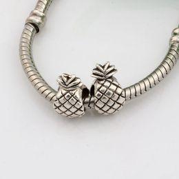 Wholesale pineapple antiques - Hot !100pcs Antique Silver Alloy pineapple Large Hole Bead Fit European Beads Bracelet 7x12mm