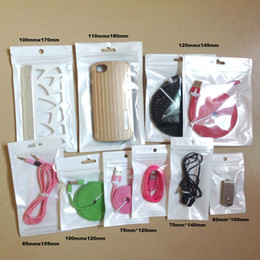 Wholesale Accessories Bag For Cables - 500pcs lot 8*14cm Wholesale clear+white plastic Zipper Retail package bag For Data cable car charger Cell Phone Accessories Packing bag