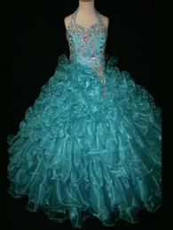 Wholesale Turquoise Beaded Girls Pageant Dresses - 2015 Junior Girls Pageant Gowns Ruffled Skirt Beaded Bodice Halter Turquoise Girl's Pageant Dresses Organza Pageant Gowns OX504