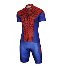 Wholesale Cycling Jersey Spiderman - Red Spiderman Cycling Jerseys Sets Breathable Cycling Clothing Summer Short Sleeves and Shorts Bike Clothes Cheap Cycle Jersey For Cycling