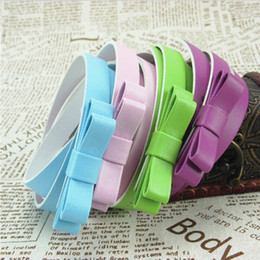 Wholesale Double Bow Belt - Candy Colored Sweet Little Princess Double Layer Bow Thin Belt Fashion Lady Waistband Dress Up Accessories Mix Order Free Shipping