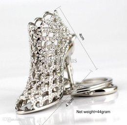 Wholesale Wholesale Trendy Heels - Wholesale-Metal High Heel Shoe Keychain Keyring Key Chain Ring Fob Fancy Hollow Pumps
