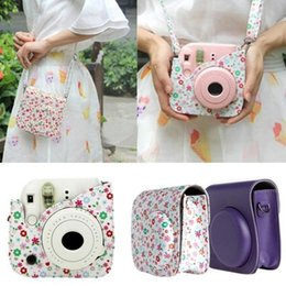 Wholesale Camera Straps Women - 2017 NEW Mini Camera Shoulder Strap Bags Case Pouch Candy colors Leather For Fuji Fujifilm Instax Mini 8 For Women Gifts