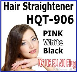Wholesale Wholesale Ceramic Hair Straighteners - Hair Straightener Flat Iron HQT-906 iron Straightening Brush Hair straighteners Styling Tool comb With LCD BLACK WHITE PINK US EU UK AU