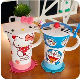 Wholesale Stainless Steel Ceramic Coffee Mugs - Cartoon Creative Ceramic Cup Doraemoncute Kitty Cup for Children Milk Coffee Mug with Cover 20 pcs lot
