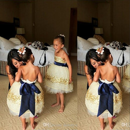 Wholesale Navy Blue Little Girls Dress - 2016 Ivory Flower Girl Dresses Strapless Gold Sequins Beaded Navy Blue Bow Ribbon Lovely Little Kids Formal Wear Girls Party Dresses BO7397