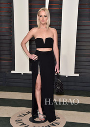 Wholesale Champagne After Dresses - 2016 88th Oscar Jennifer Lawrence Celebrity Dresses After Party Sexy Black Split Evening Dress Two Pieces V Neck Gowns