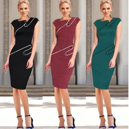 Wholesale Pinup Rockabilly Dress - Womens New Vintage Pinup Rockabilly Elegant Wear To Work Business Casual Tunic Bodycon Sheath Pencil Dress DK4453XL