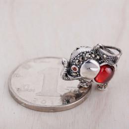 Wholesale 925 Thailand Bracelet - Hot Sale DIY Accessories Red Corundum Thailand Elephant Charm Fit For Necklace or Bracelet 925 Thai Silver Fine Jewelry CP0086