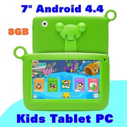"tablet android 4.4 chino Rebajas Kids Brand Tablet PC 7 ""Quad Core tablet para niños Android 4.4 Allwinner A33 8GB reproductor de google wifi + altavoz grande + cubierta protectora"