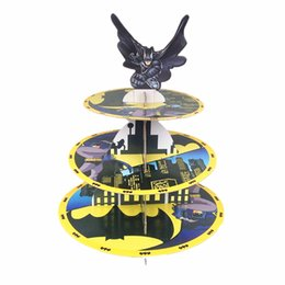 Wholesale Batman Birthday - Free shipping batman decoration kids birthday party supplies three layers cupcake stand cake stand stands dessert tray favors
