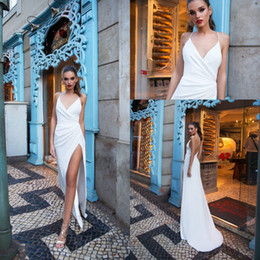 Wholesale Spaghetti Strap Slit Wedding Dress - Simple Cheap Beach Wedding Dresses 2018 Spaghetti Straps Sheath Thigh-High Slits Backless Country Wedding Gowns