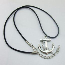 Wholesale Fine Tibetan Pendant - New Fashion Tibetan Silver Plated Alloy Pendant Necklace Choker Charm Black Leather Cord Fine Jewelry Accessories NL-0509
