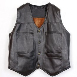 Wholesale Leather Mens Vest - Fall-Fur Leather Vest Big Size 3xl Mens Black Waistcoat Casual Brown Sleeveless Jacket V Neck Solid British Style Single Breasted
