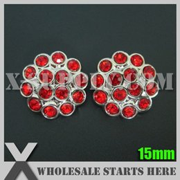 Wholesale Wholesale Bulk Buttons For Clothing - 15mm Plastic Acrylic Rhinestone Button for Clothing,Flower Center Silver Base with Red Rhinestone Bulk Wholesale