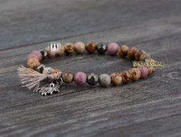 Wholesale Pyrite Bracelet - Boho Natural Stones with Pyrite and Tassel Stretched Bracelets Handmade Elastic Mala bead bracelet Yoga Bracelet Yoga Jewelry