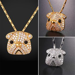 Wholesale Lovely Pug - U7 Pug Bull Dog Pendant Necklace Gold Platinum Plated Cubic Zirconia Lucky Lovely Pet Jewelry Gift Chain for Men Women P2583