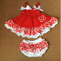 Wholesale Swing Dress Bloomers Set - Wholesale-Polka Dots Baby Swing Dress Toddle Dress Cotton Baby Swing Outfit Christmas Baby Bloomer set With Bow