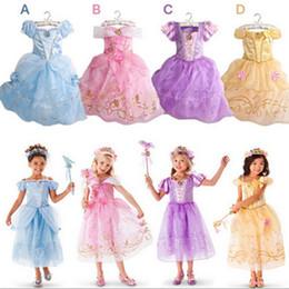Wholesale Snow White Clothing Girls - 2015 New Girls Cinderella Dresses Children Snow White Princess Dresses Rapunzel Aurora Kids Party Costume Clothes