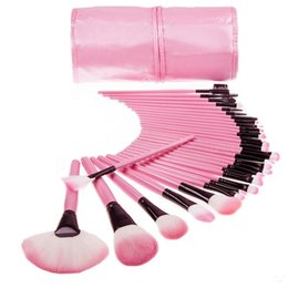 professional makeup brush 32pcs pink Promo Codes - 2016 Hot-saling 32pcs Professional Makeup Brushes tech Make Up Brushes Cosmetic Brush Set Kit Tool + Roll Up Case free
