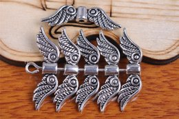 Wholesale Flat Silver Necklace - 300pcs 23mm Angel Wing Space Beads Pendant Components Charms 7096 Plated Silver DIY Jewelry Craft Necklace infinity Fit Bracelets Earring