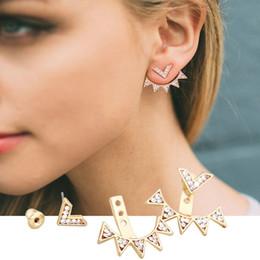 Wholesale Vintage Jade Earrings - New Fashion Vintage Gold Punk Triangle Rivet Ear Cuff Clip Stud Earrings For Women Jacket Piercing Earrings Jewelry 9162