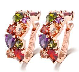 Wholesale Zircon Crystals For Sale - Top Sale New Flower Earrings 18K Rose Gold Plate Multicolor Cubic Zircon Stud Earrings for Women HZ