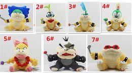 "Wholesale Mario Stuffed - Cartoon Super Mario plush toys Wendy Larry Lemmy Ludwing O. Koopa Plush Sanei 8"" Stuffed Figure Super Mario Game Koopalings Dolll D408"
