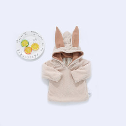Wholesale Baby Coats Ears - 2017 NEW Cute Baby Girl Boy 3D Rabbit Ear Solid Color Velvet Thinken Warm Hoodie Toddler Long Sleeve Coat Kids Zipper Back Open Outwear