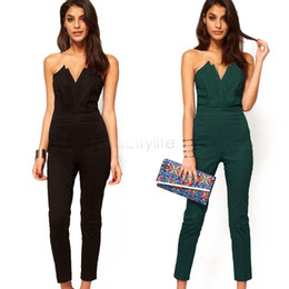 Wholesale Strapless Rompers - Drop Shipping Rompers Women Sexy Jumpsuit Black Green Slim Pants Bodysuit Sleeveless Strapless Jumpsuits Macacao Feminino B20