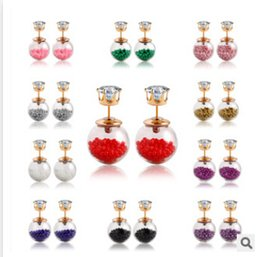 Wholesale Wholesale Pearl Diamond Earrings - 20 colors Summer Style Glass Stud Earring diamond earrings Pearl Fine Jewelry Fashion Transparent Crystal Ball earrings jewelry m468