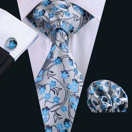 Wholesale Gray Ties For Mens - Tie for Men Hankerchief Cufflinks Set Blue Floral Pattern Mens Jacquard Woven Business Necktie 8.5cm Width Casual Set N-0999