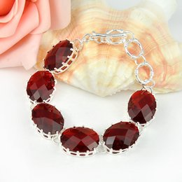 Wholesale Garnet Bracelets Bangles - Luckyshine 2Pieces 1 lot Holiday Gift Oval Fire Garnet Crystal 925 Sterling Silver Chain Bracelets Russia American Australia Wedding Bangles