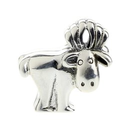 Wholesale Solid Silver Bracelet Chain - Beads Hunter Jewelry Authentic solid 925 Sterling Silver Alaskan Moose Charm fashion big hole bead For 3mm European Bracelet snake chain