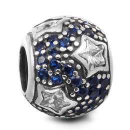 Wholesale Blue Star Foods - Follow The Stars Clear CZ & Midnight Blue Crystal 100% 925 Sterling Silver Beads Fit Pandora Charms Bracelet Authentic DIY Fashion Jewelry