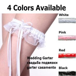 Wholesale Lingerie Cheap Garter Belts - 151204 Cheap Black White Red Pink Sexy Lace Bridal wedding leg Garters Belt set legging ribbons band with rhinestone for women lingerie