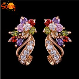 Wholesale Gold Sapphire Earring - 1pair Jewellery for women flower sapphire 18k GDP yellow gold stud Earrings for gift