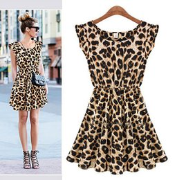 Wholesale Ruched One Piece - Retail Sexy Women Ruffles Leopard Print Casual Party Tunic One Piece Novelty Skater Swing Mini Dress Sundress S Free Shipping