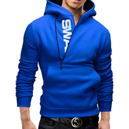 Wholesale Men Zipper Hoodies Fleece - Wholesale-Brand Autumn&Winter Fashion New Assassins Creed Letter Printed Pullover Side Zipper Fleece Hoodies Sweatshirts Men Plus