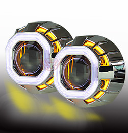 Wholesale Xenon Projector Lens Light - Universal style 35W HID square angel eyes in car angel eyes Bi Xenon Lens Projector Headlighs with car styling