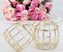 Wholesale Holder Favor Bird - 30Pcs Lot Candy Boxes Gold Color Bird Cage Favor Holders Wedding And Party Gift Box 2016 New Style