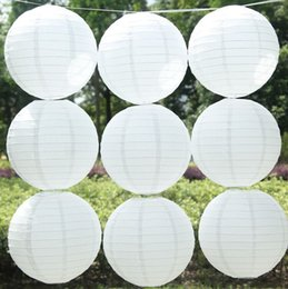 Wholesale Decoration For Ring - 12''(30cm) White Round Chinese Paper Lanterns For Wedding Party Decorations Halloween Paper Lantern Battery Operated Paper Langt