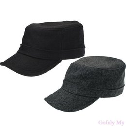 Wholesale Winter Hat Top Ball - Gofuly 2014 Excellent Men's Accessory Army Military Style Hats Caps Flat Top Winter Warm Gift Freeshipping