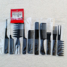 Wholesale Comb Set Hairdressing - Free Shipping Magic 10 Piece Professional Styling Salon Hair Combs Set Hairdressing Plastic Barbers Brush Combs