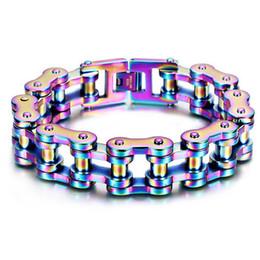 Wholesale Motor Jewelry - Men's Rainbow Blue color Motor Bike Biker Chain Motorcycle Chain titanium steel Bracelet Bangle Boys 316L Stainless Steel Jewelry